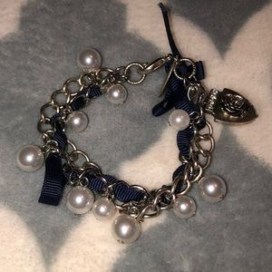 Bracelet with Black String and Pearls